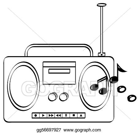 picture royalty free Boombox clipart music system. Stock illustration stereo with