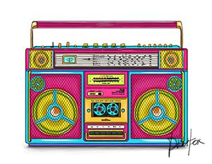 clip black and white library Boombox clipart pink. A retro cassette player