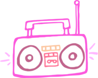 png library Radio transparent . Boombox clipart pink