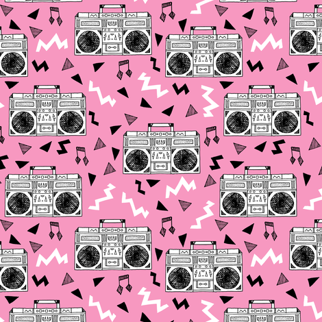 clip transparent download Boombox clipart pink. S music fabric print