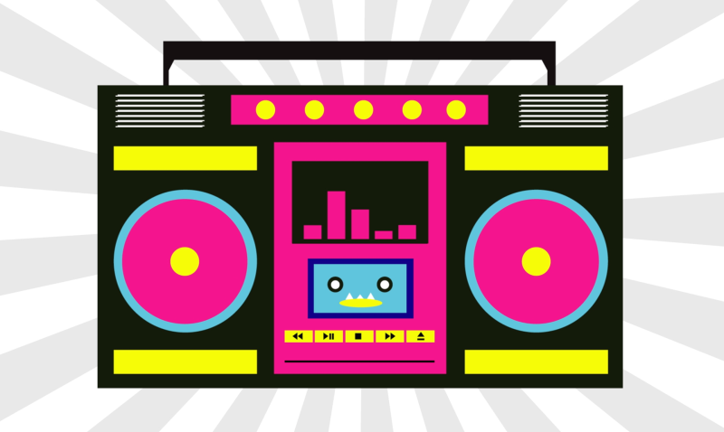 svg freeuse library Boombox clipart pink. Background purple yellow transparent
