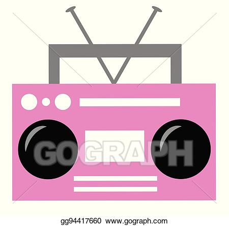vector free Boombox clipart pink radio. Vector art drawing gg
