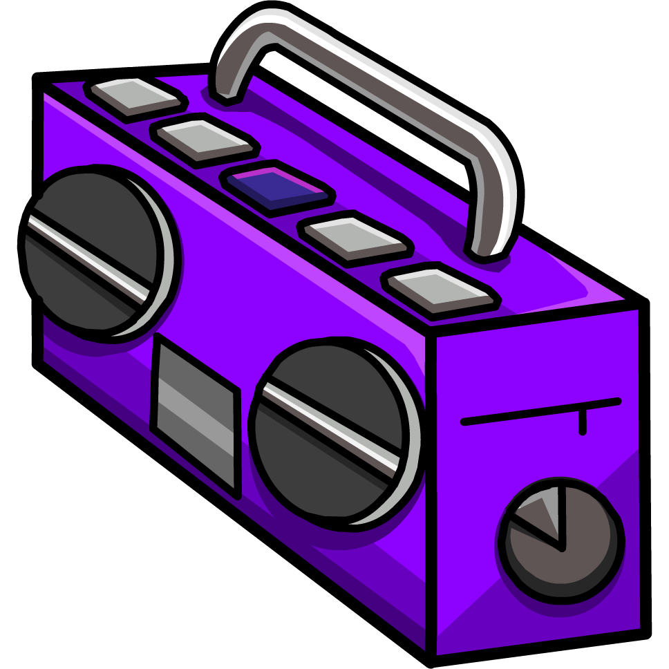 graphic free download Boombox clipart purple. Boom box club penguin