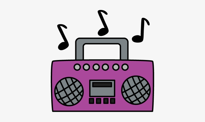 image black and white Clip art example of. Boombox clipart purple