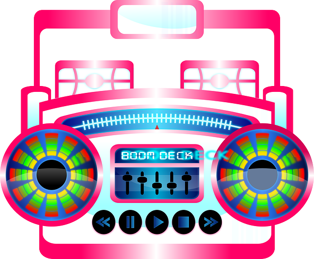 clip free stock Groove to Your Favorite Music with Your Portable Boombox