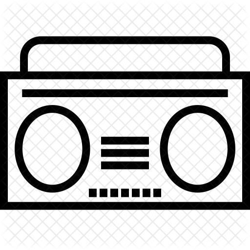 vector transparent stock Stereo icon network communication. Boombox clipart vintage