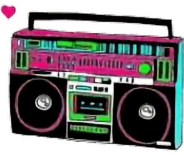 clipart transparent Boombox clipart vintage. Neon retro stereo freetoedit