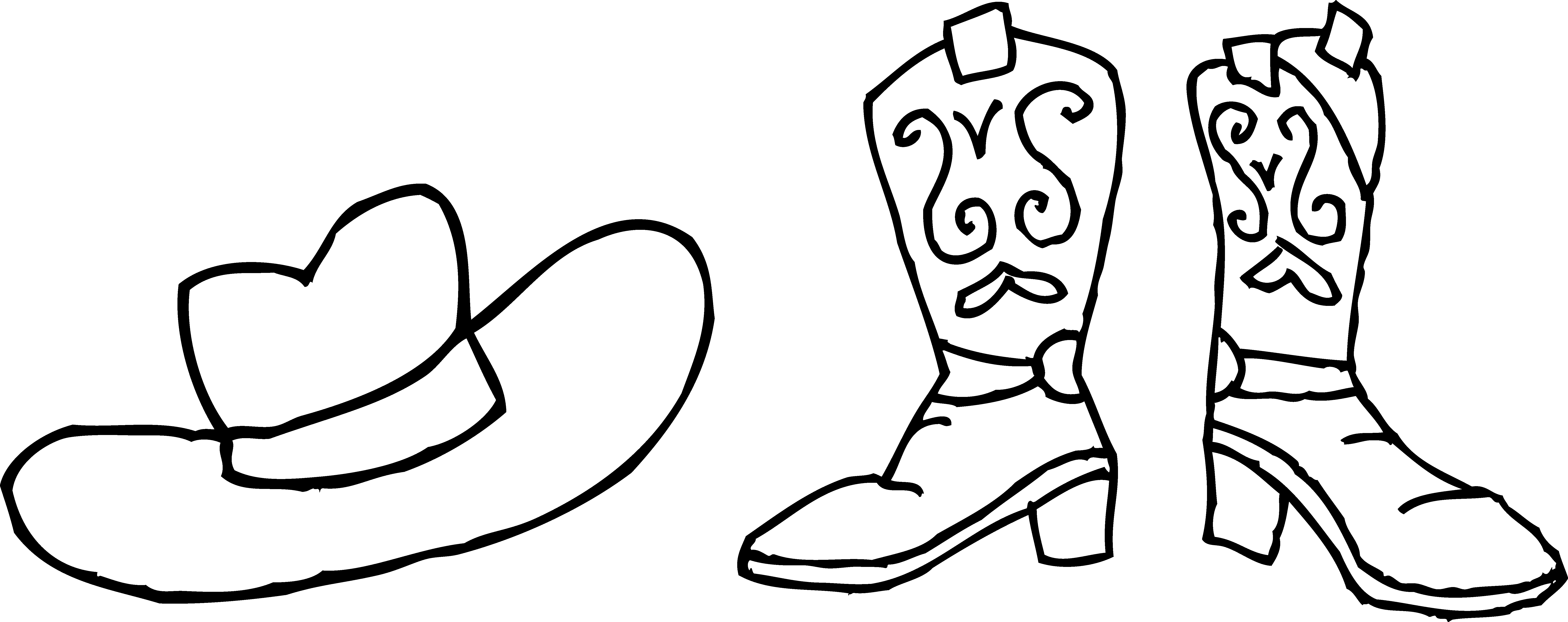 clip freeuse download Cowboy hat and boots. Boot clipart drawing