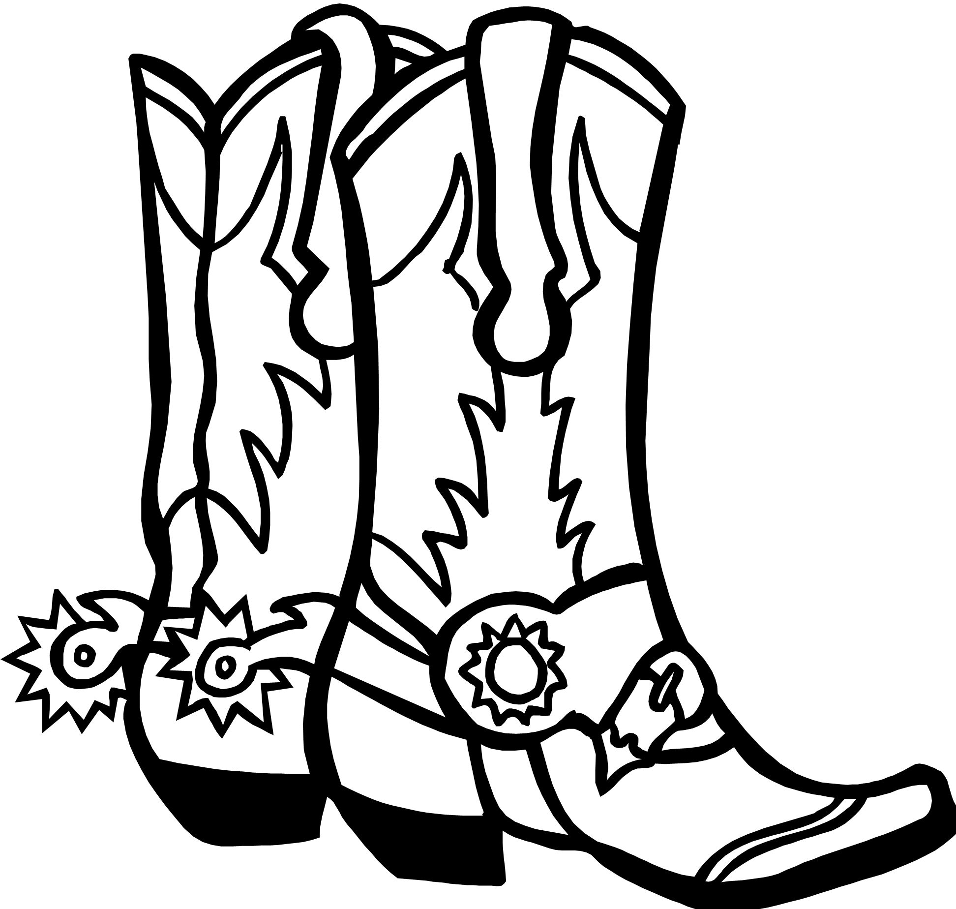 image download Cowboy boot fototo me. Western black and white clipart