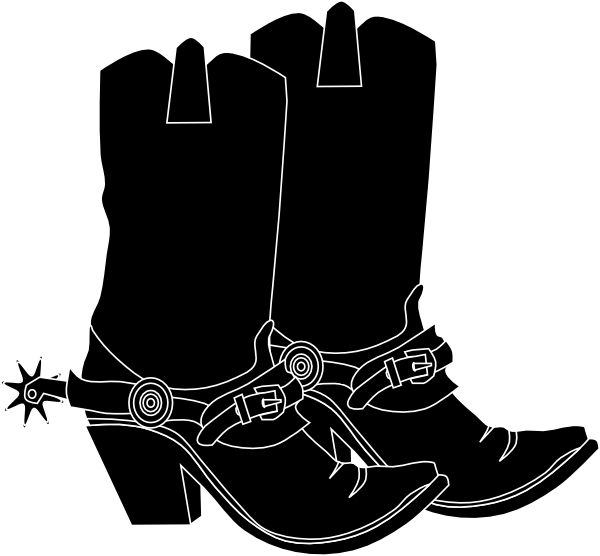 clip Black Western Boots Clipart
