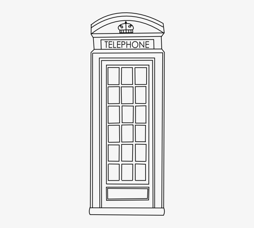 graphic royalty free download Booth clipart black and white. Phone telephone box coloring