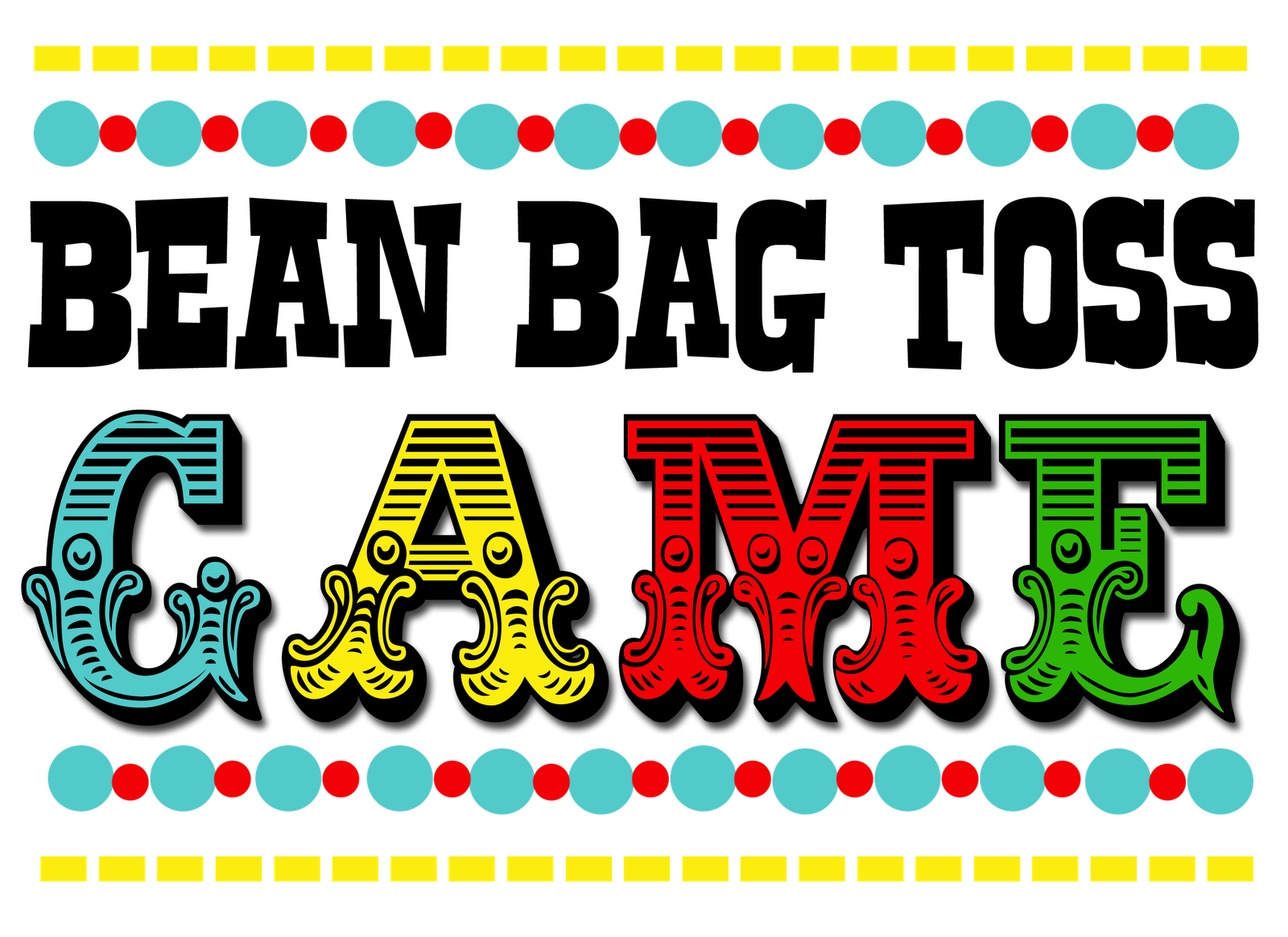 clipart black and white download Printable game signs spring. Booth clipart kids carnival games