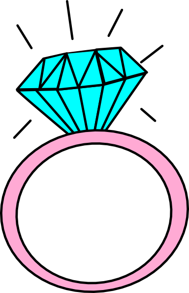 vector black and white library Engagement Ring Cartoon Clip Art