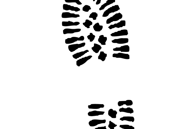 vector black and white Topic for vintage leather. Footprint clipart boot
