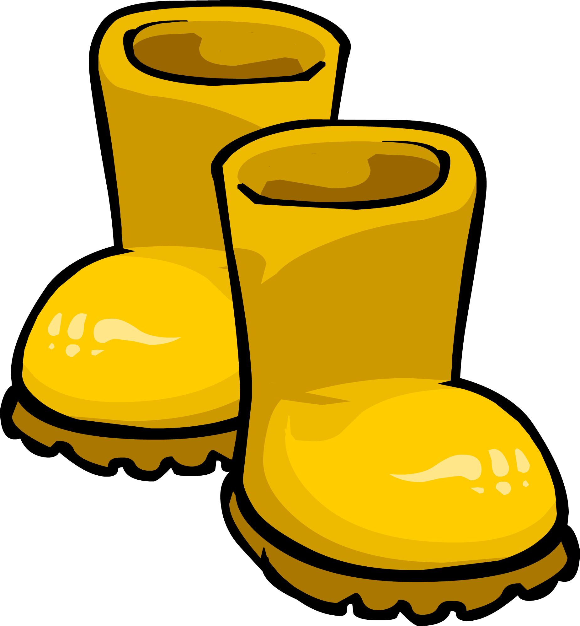 png library download Yellow rubber club penguin. Boots clipart rain gear