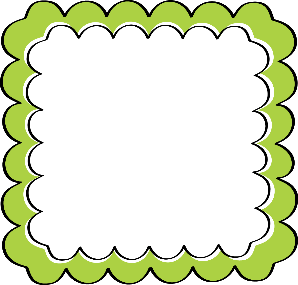 clip stock Theme green scalloped frame. Border clipart school