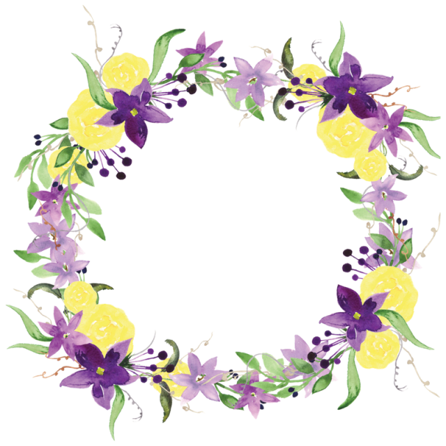picture library download Border clipart watercolor. Purple flowers flower wreath