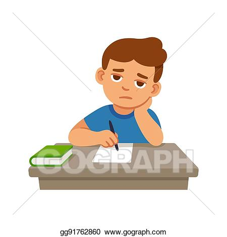 freeuse stock Vector stock at school. Bored clipart bored kid