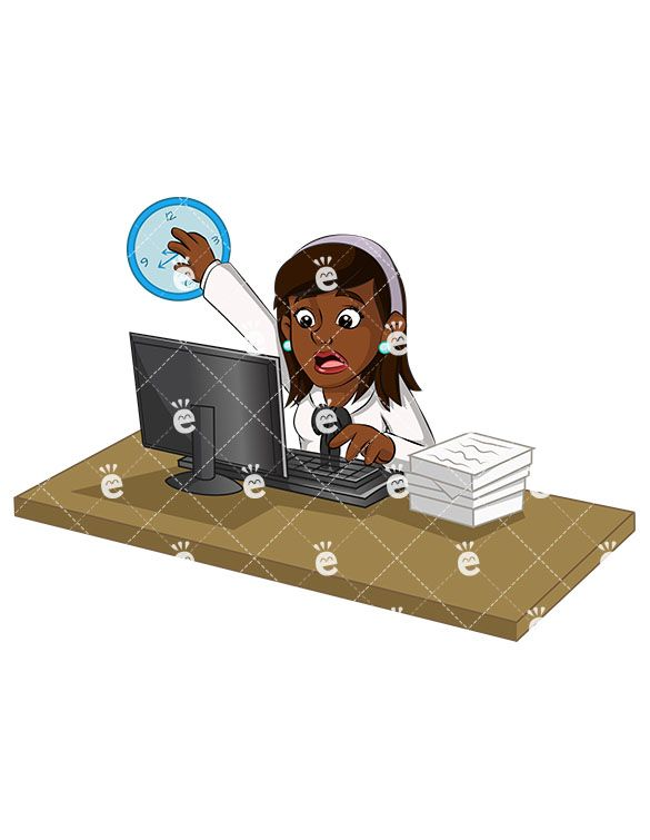 clip transparent library Boss clipart overworked. An black businesswoman trying.