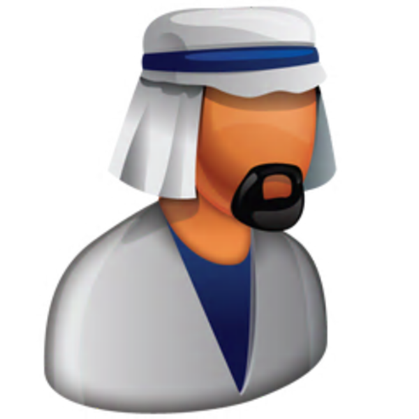 black and white Arab Boss Icon