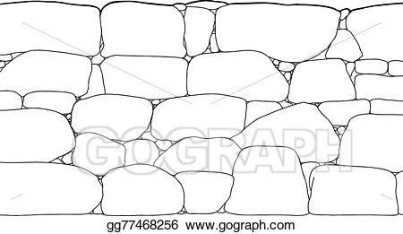 clip library stock Vector art outline drawing. Rock wall clipart