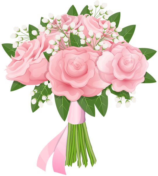 png free library Pink rose free png. Bouquet clipart