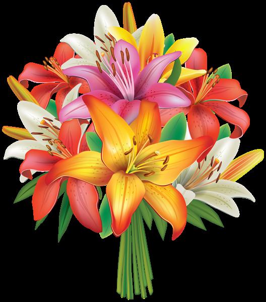 clipart stock Lilies flowers png image. Bouquet clipart