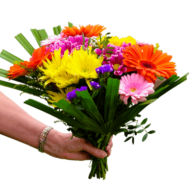 picture freeuse Bouquet clipart bright colored flower. Brightly coloured in hand