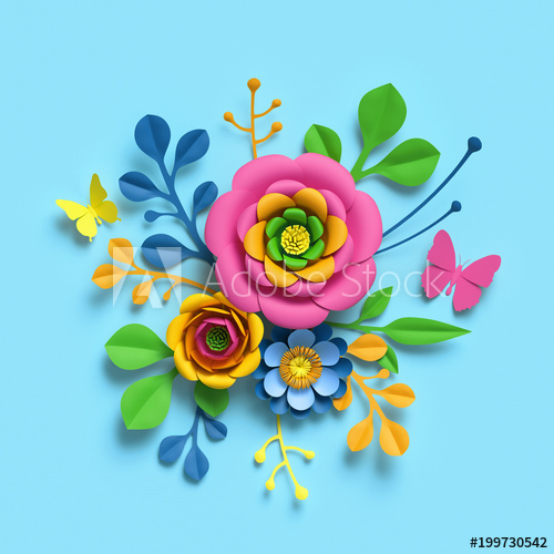 vector download  d render craft. Bouquet clipart bright colored flower