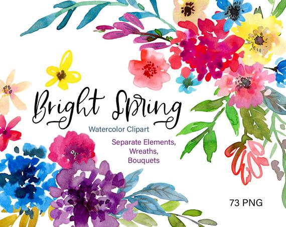 svg download Bouquet clipart bright colored flower. Watercolor flowers spring floral