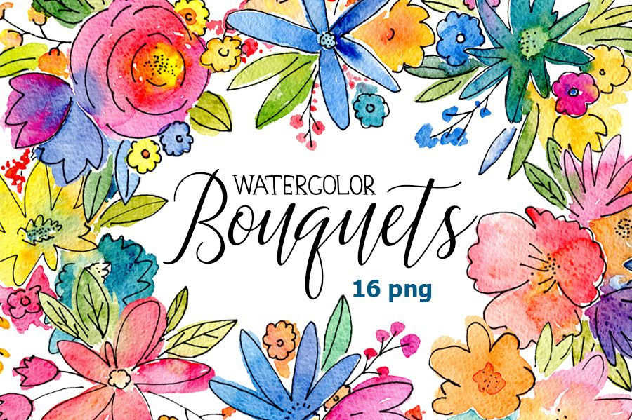 png royalty free stock Watercolor boquets of flowers. Bouquet clipart bright colored flower