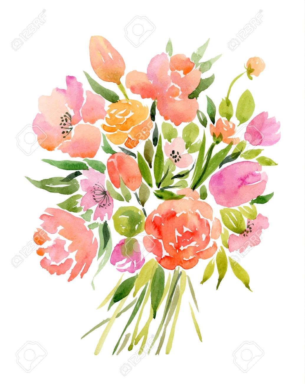 clip art royalty free stock Bouquet clipart colour flower. Arrangements elegant flowers drawing