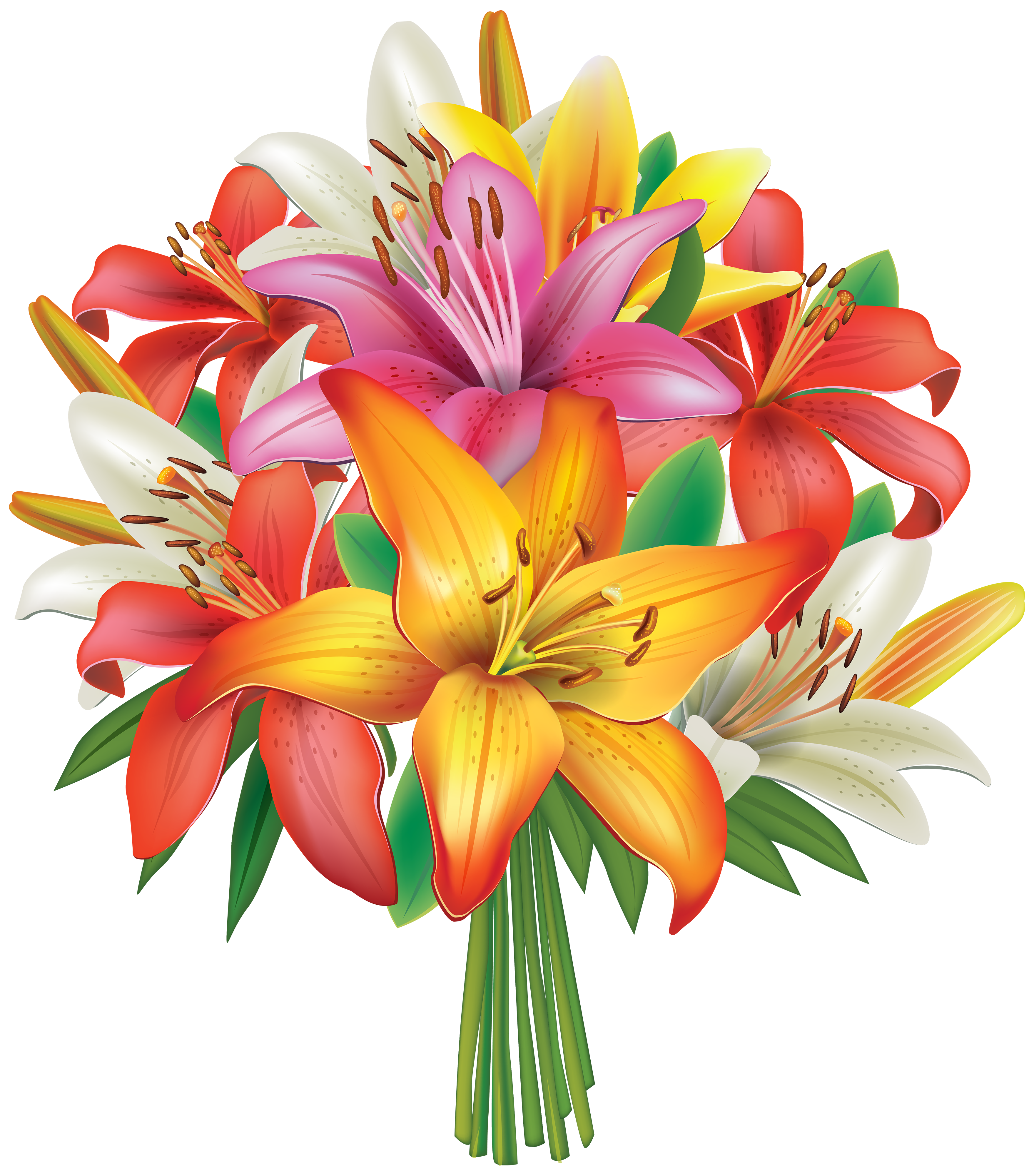 clipart free library Lilies flowers png image. Bouquet clipart flower bucket.