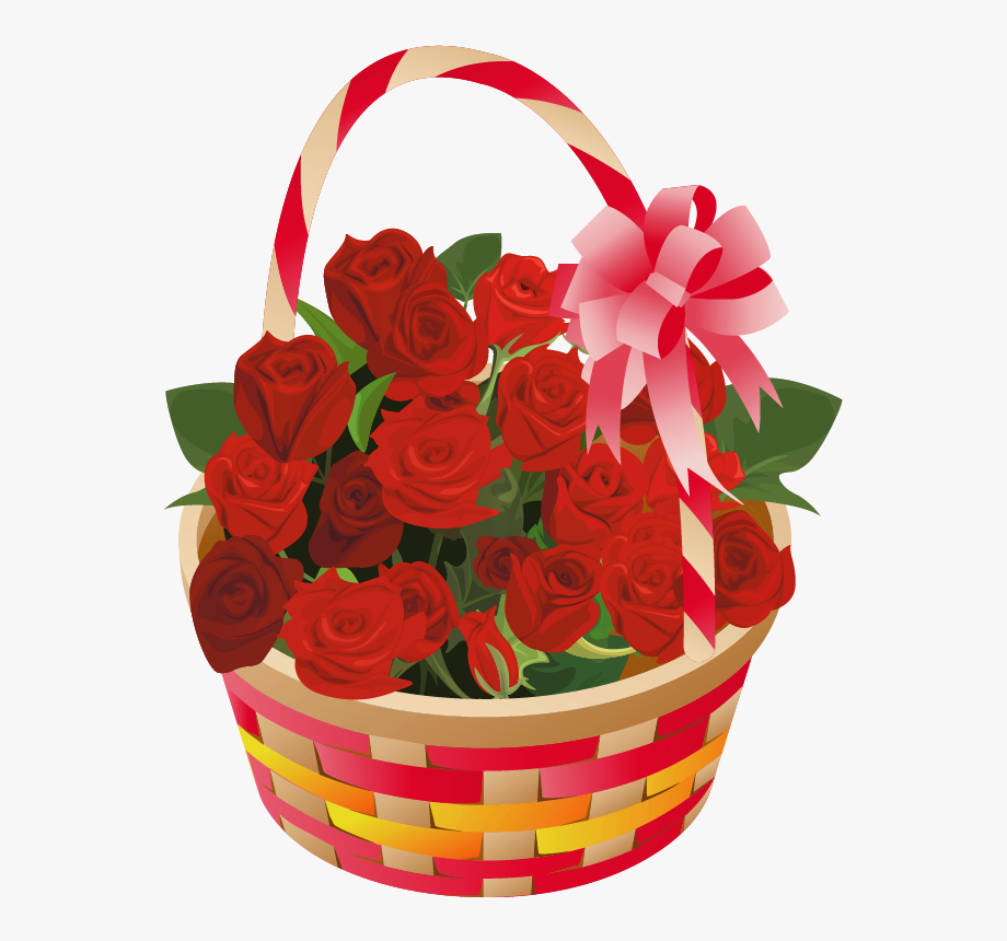 banner stock Roses basket png . Bouquet clipart valentines day rose