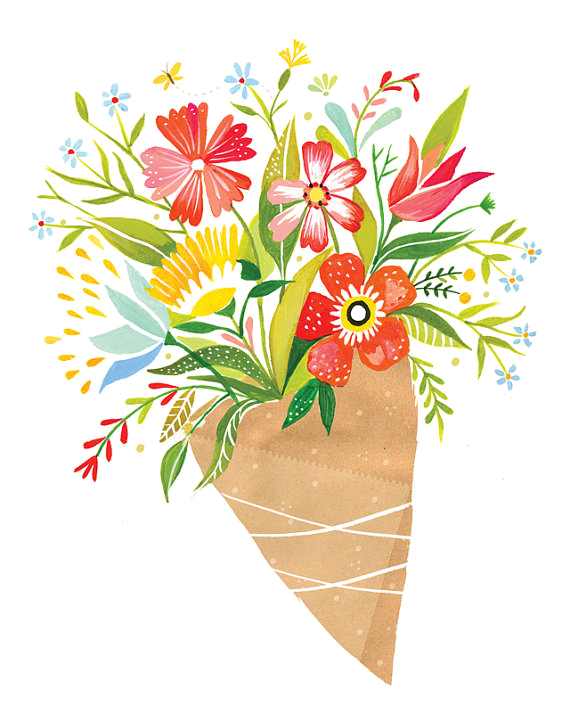 svg library library Wildflower Bouquet Drawing at GetDrawings