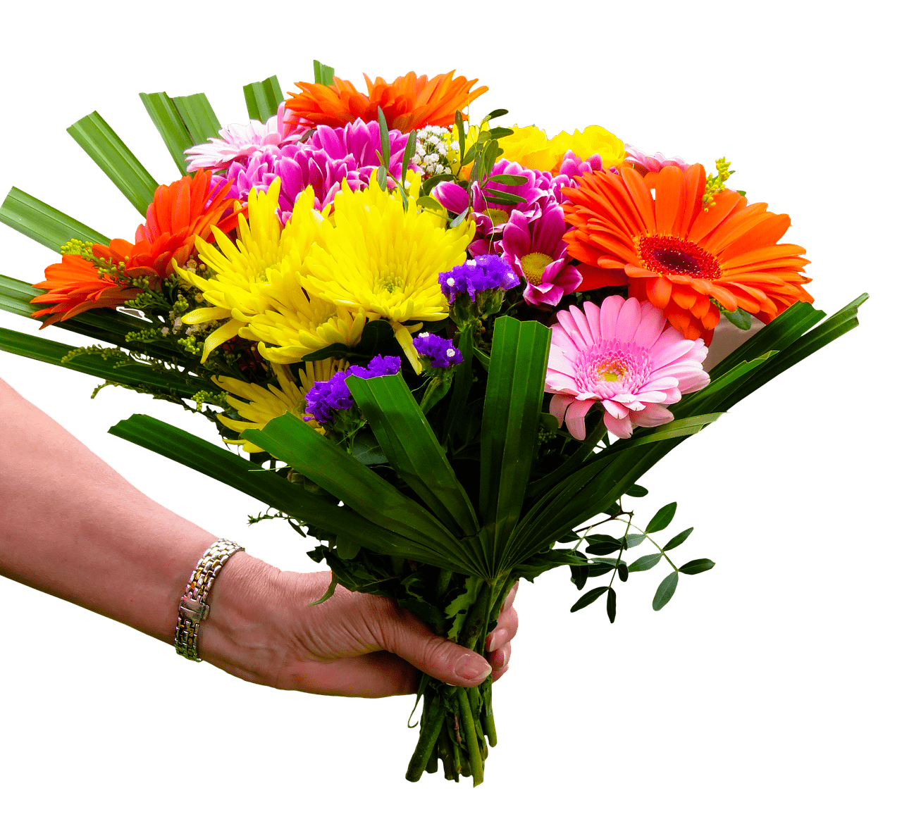 clip art black and white download Brightly Coloured Bouquet In Hand transparent PNG
