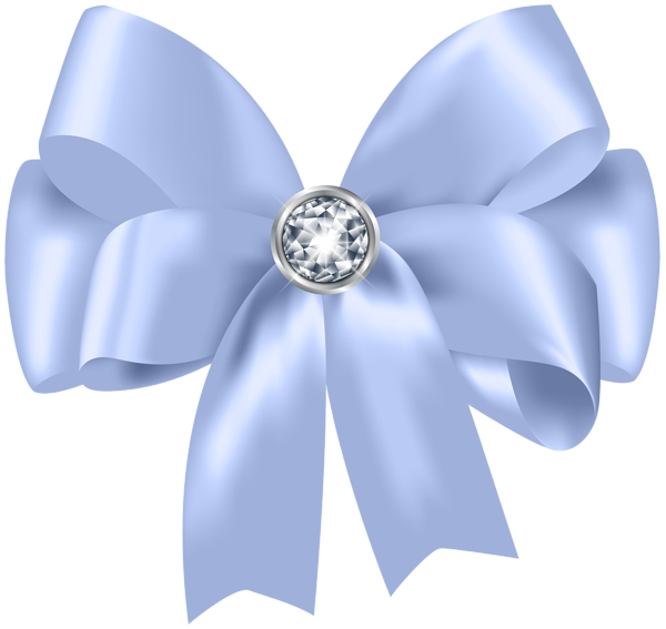 png black and white library Beautiful Blue Bow with Diamond PNG Clip Art