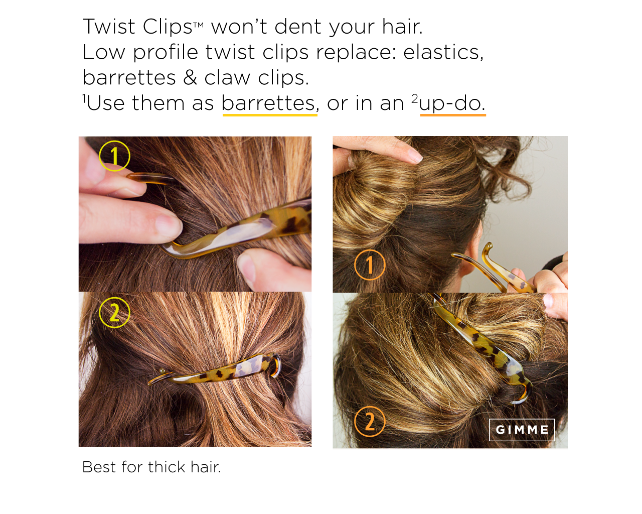 banner Gimme hair accessories tools. Bananna clip updo