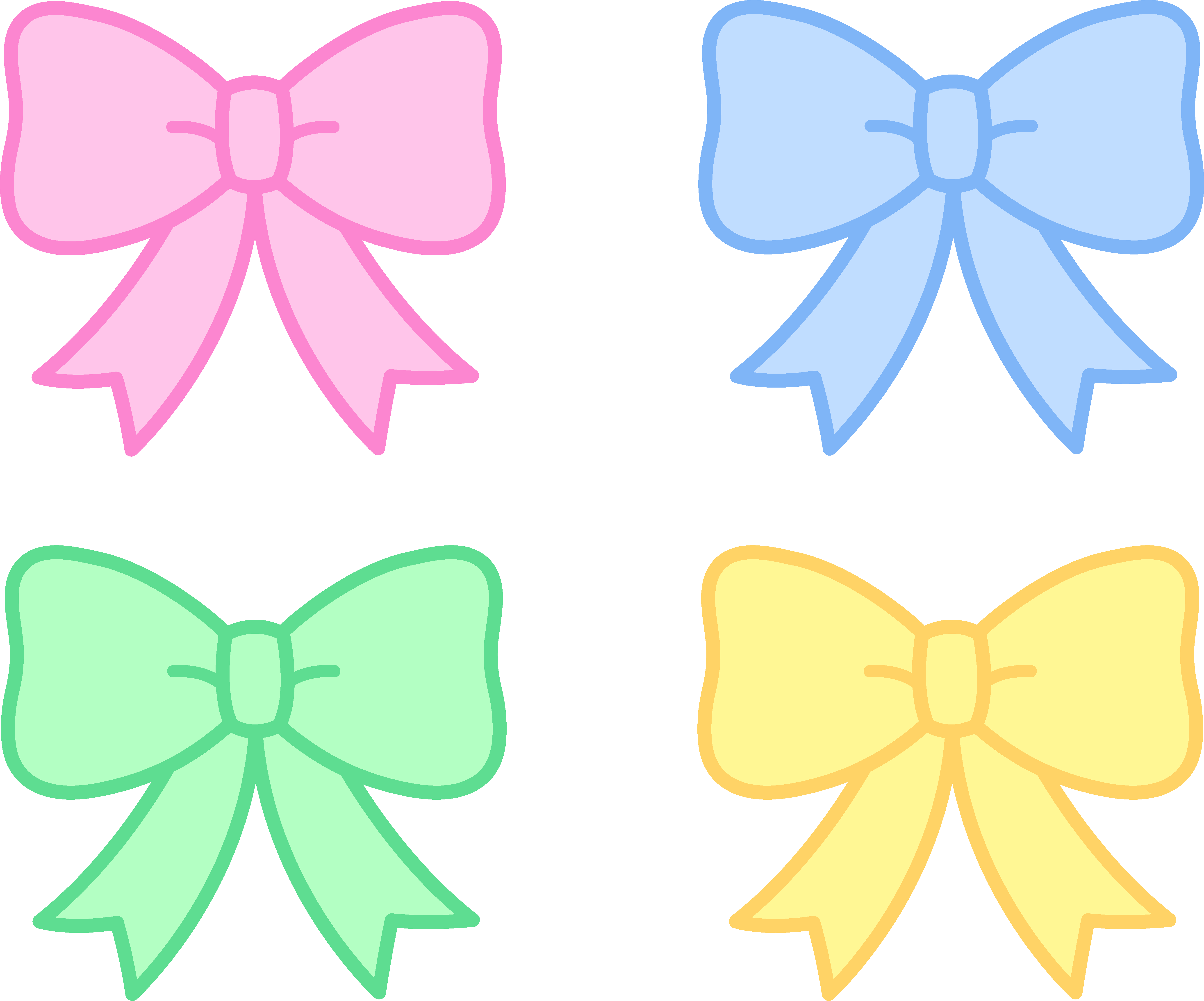 picture free stock Bow clipart four. Cute pastel holiday bows
