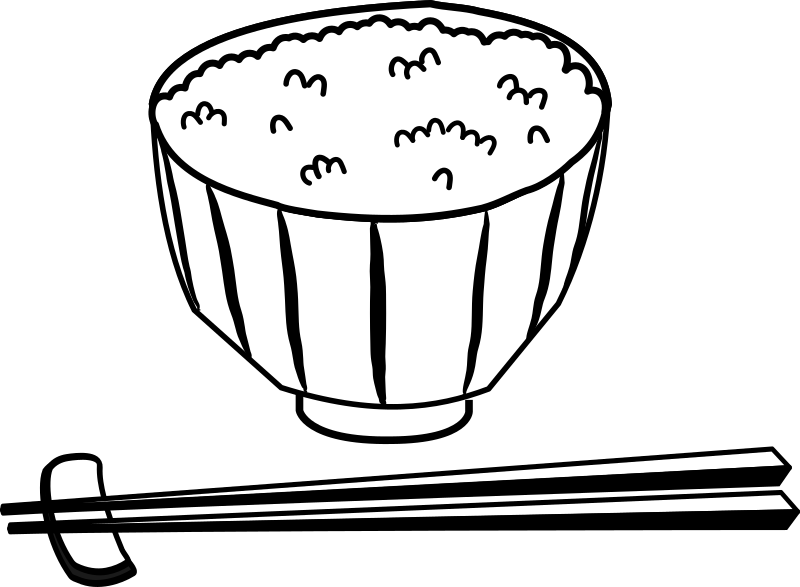 image royalty free download Japan clipart black and white. Rice japanese bowl amp.
