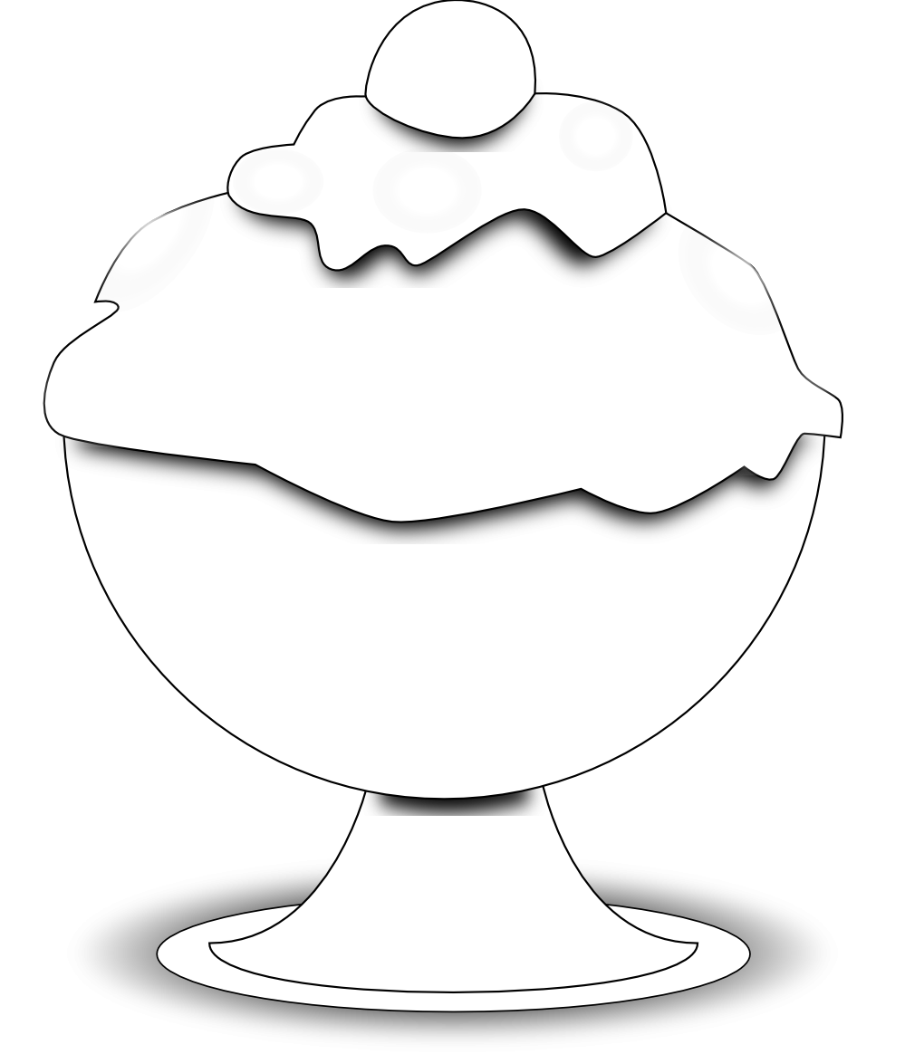 vector stock Ice cream black and white clipart. Bowl panda free icecreambowlclipartblackandwhite