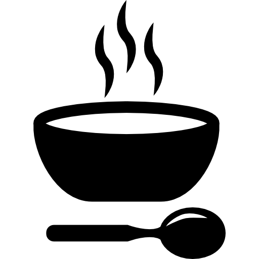 banner black and white Bowl clipart hot soup. Food icon page.