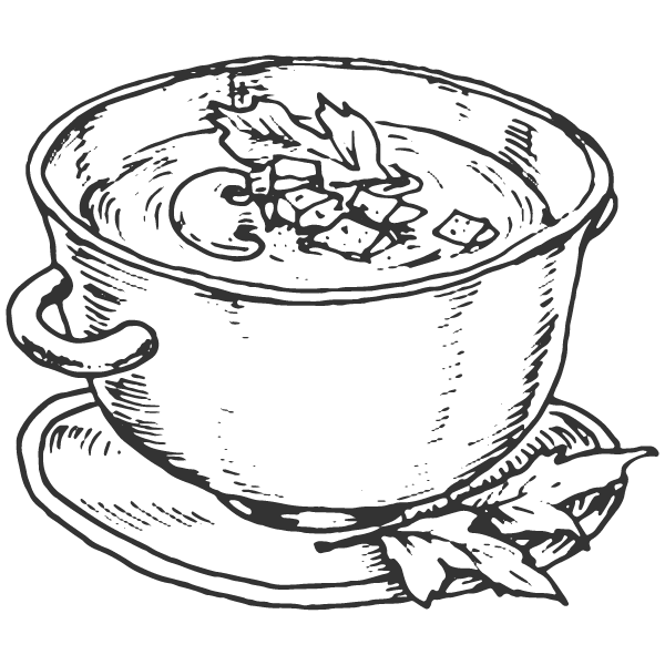 graphic black and white stock Soup Drawing at GetDrawings