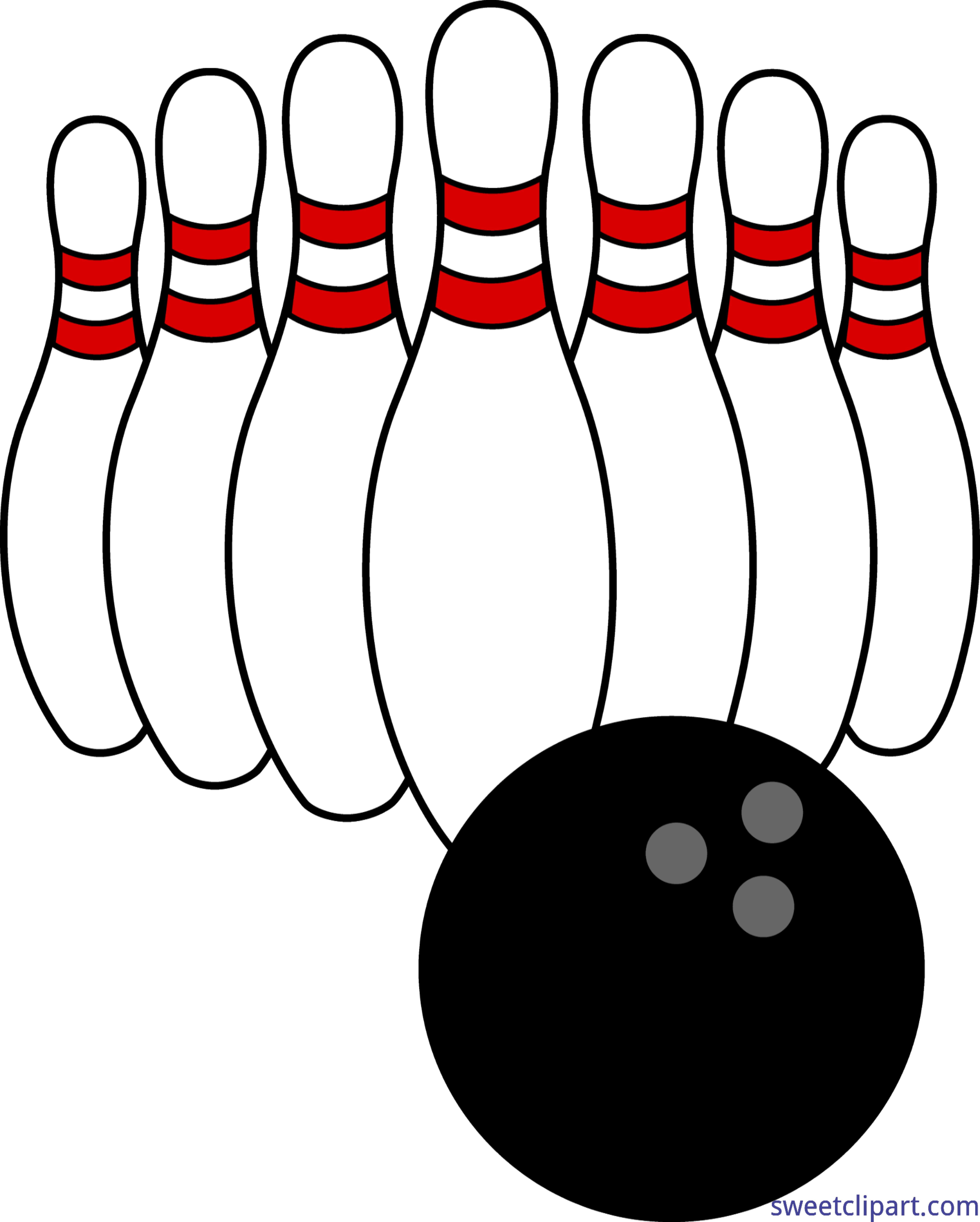 jpg black and white download Bowling clipart. Ball and pins clip.