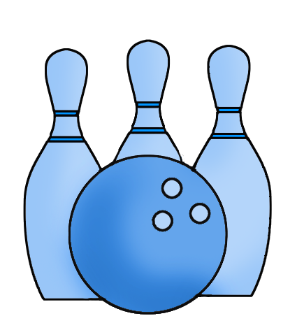 png black and white Blue ball and cones. Bowling clipart.