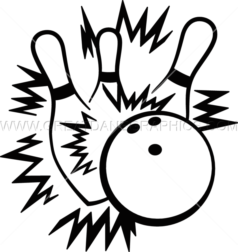 clip art transparent library Strike production ready artwork. Bowling clipart black and white