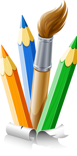 banner transparent stock Pencils and paint brush. Box clipart colored pencil.