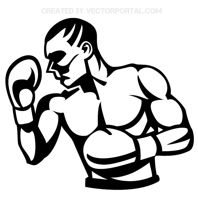 jpg black and white stock Boxer clipart boxing day. Free download best .