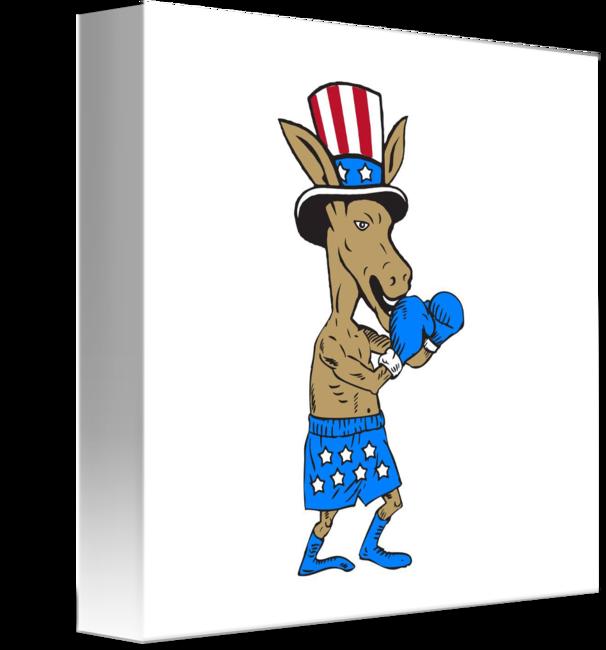 graphic stock Boxer clipart boxing day. Democrat donkey mascot cartoon.