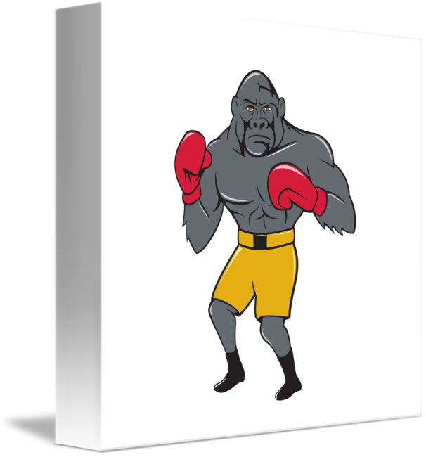 graphic free stock Gorilla cartoon by aloysius. Boxer clipart boxing stance